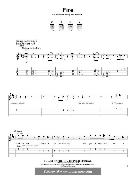 Fire: Для гитары (легкий уровень) by Jimi Hendrix