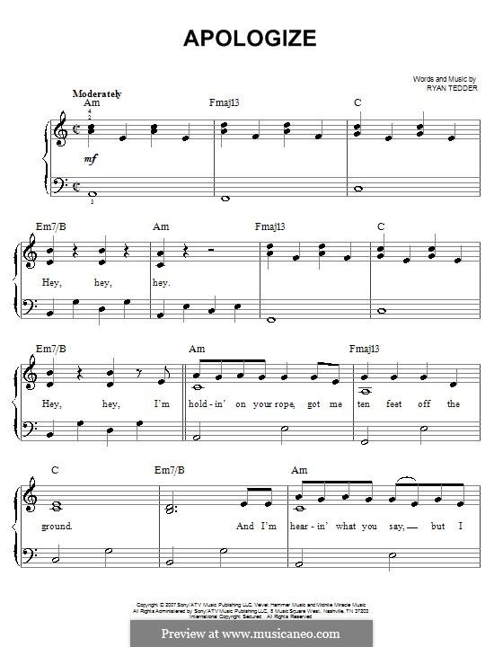 Apologize (OneRepublic): Для фортепиано (легкий уровень) by Ryan B Tedder