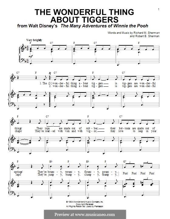 The Wonderful Thing About Tiggers: Для голоса и фортепиано (или гитары) by Richard M. Sherman, Robert B. Sherman