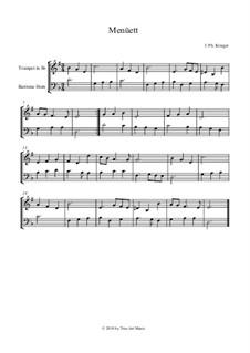 Менуэт: For trumpet and baritone horn by Иоганн Кригер