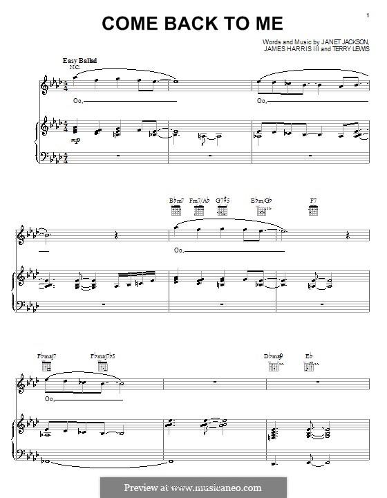 Come Back To Me (Janet Jackson): Для голоса и фортепиано (или гитары) by James Samuel Harris III, Terry Lewis