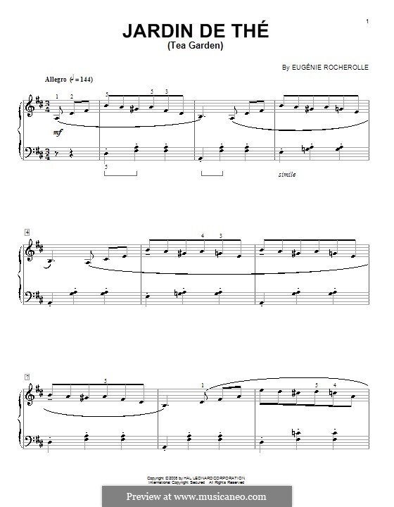 Jardin de Thé (Tea Garden): Для фортепиано by Eugénie Rocherolle