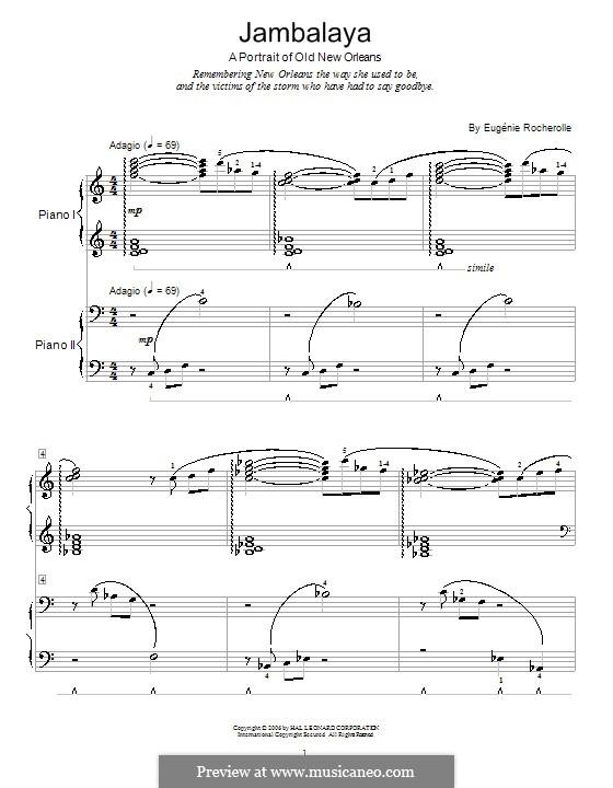 Jambalaya - A Portrait of Old New Orleans: Для фортепиано в четыре руки by Eugénie Rocherolle