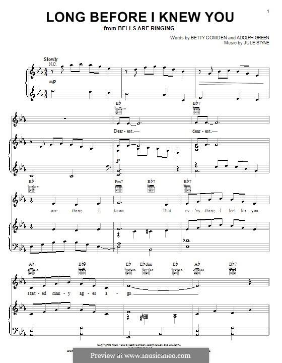 Long Before I Knew You (Betty Comden): Для голоса и фортепиано (или гитары) by Adolph Green, Jule Styne