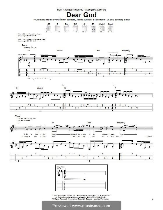 Dear God (Avenged Sevenfold): Гитарная табулатура by Brian Haner Jr., James Sullivan, Matthew Sanders, Zachary Baker