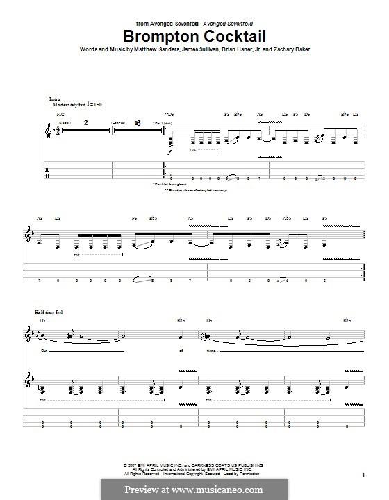 Brompton Cocktail (Avenged Sevenfold): Гитарная табулатура by Brian Haner Jr., James Sullivan, Matthew Sanders, Zachary Baker