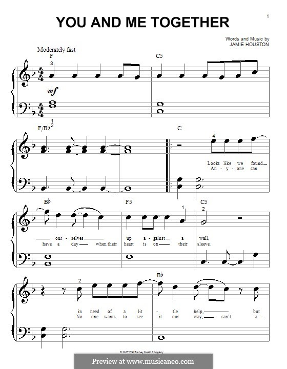 You and Me Together (Hannah Montana): Для фортепиано (очень легкая версия) by Jamie Houston