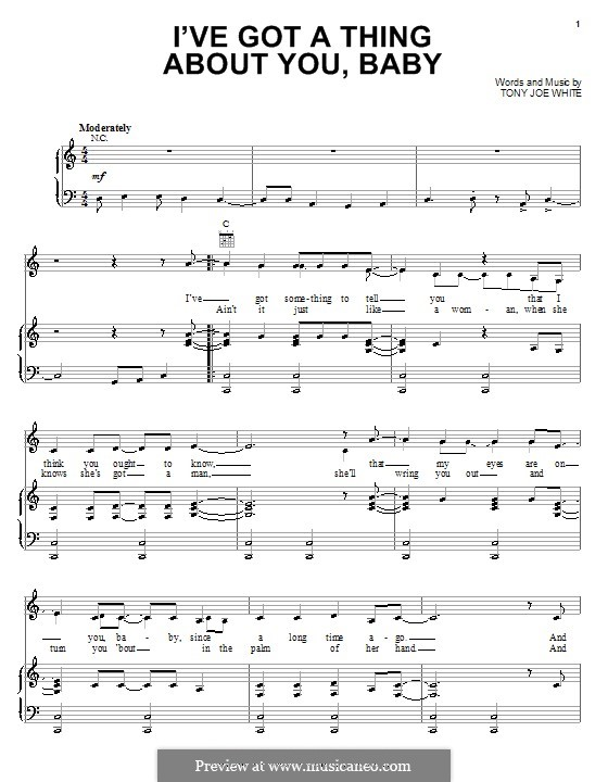 I've Got a Thing About You, Baby (Elvis Presley): Для голоса и фортепиано (или гитары) by Tony Joe White