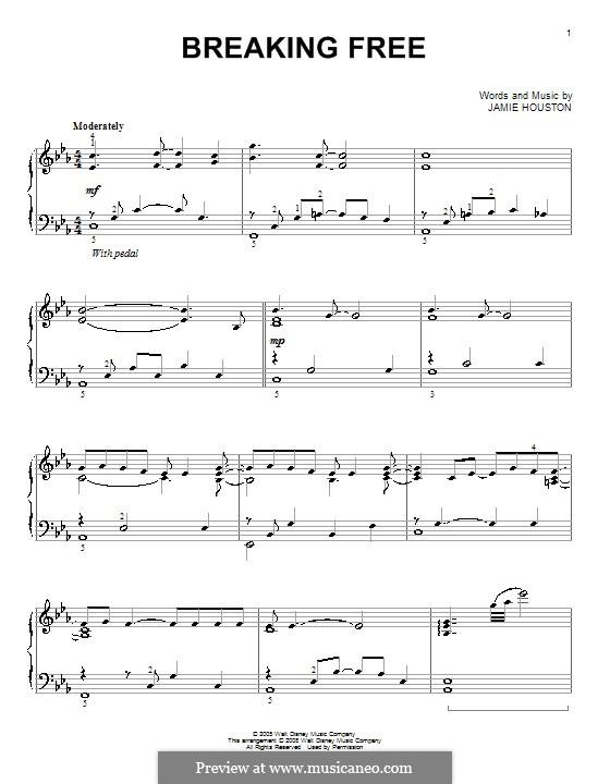 Breaking Free (from High School Musical): Для фортепиано (Vanessa Hudgens and Zac Efron) by Jamie Houston