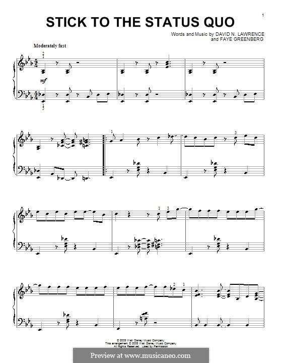 Stick to the Status Quo (High School Musical): Для фортепиано by David N. Lawrence, Faye Greenberg