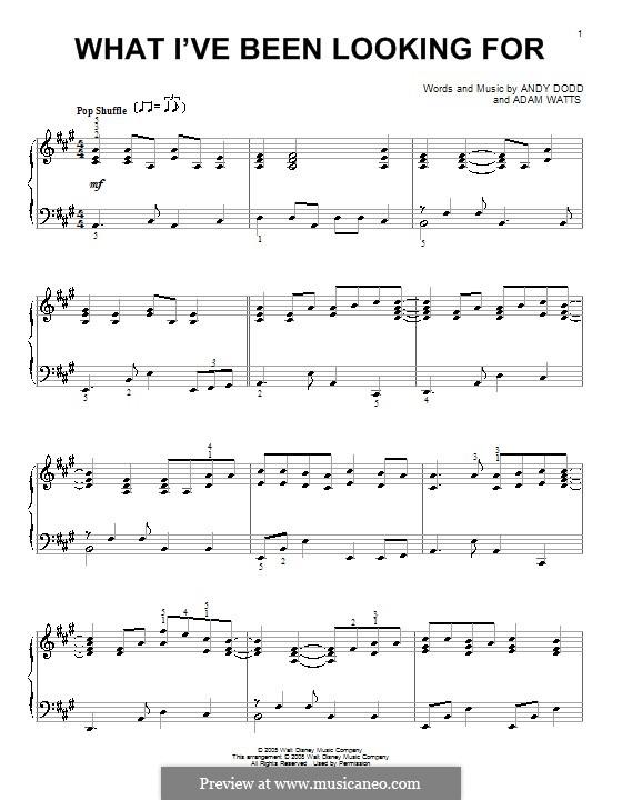What I've Been Looking for (High School Musical): Для фортепиано by Adam Watts, Andrew Dodd
