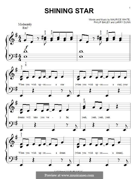 Shining Star (B Five): Для фортепиано (очень легкая версия) by Larry Dunn, Maurice White, Philip Bailey