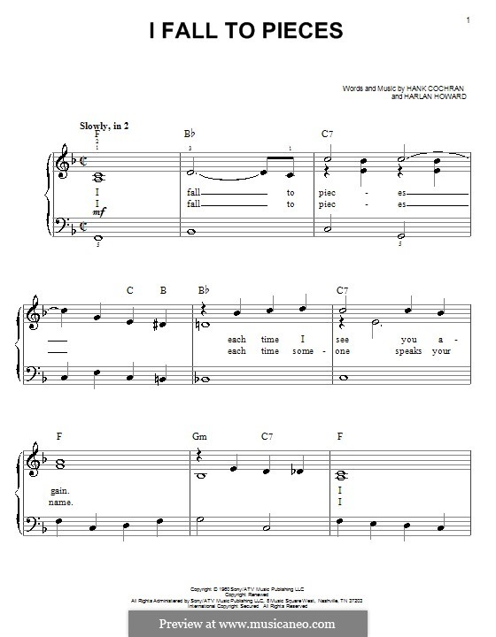 I Fall to Pieces (Patsy Cline): Для фортепиано (легкий уровень) by Hank Cochran, Harlan Howard