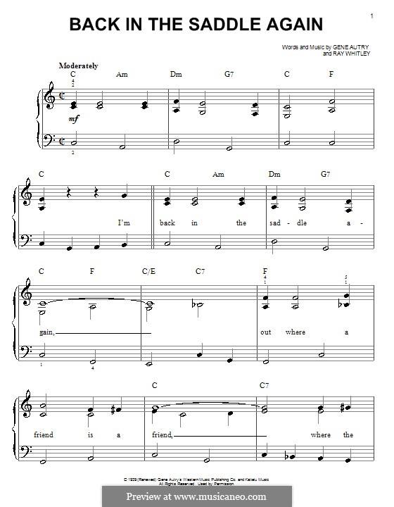 Back in the Saddle Again: Для начинающего пианиста by Ray Whitley