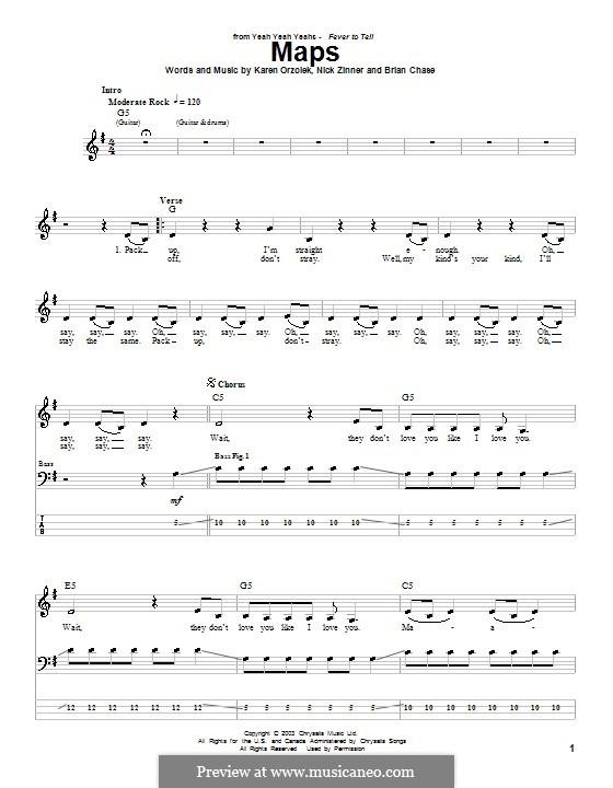 Maps (Yeah Yeah Yeahs): Для бас-гитары с табулатурой by Brian Chase, Karen O, Nicholas Zinner