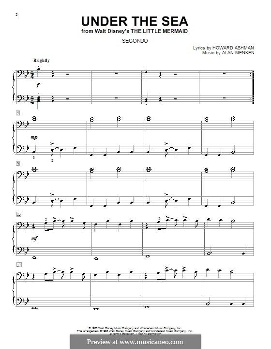 Under the Sea (from The Little Mermaid): Для фортепиано в четыре руки by Alan Menken