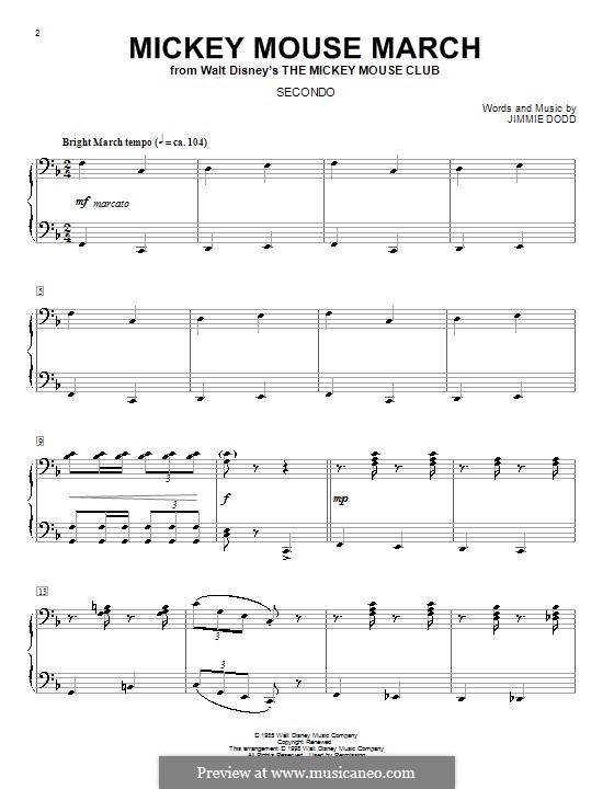 Mickey Mouse March: Для фортепиано в четыре руки by Jimmie Dodd