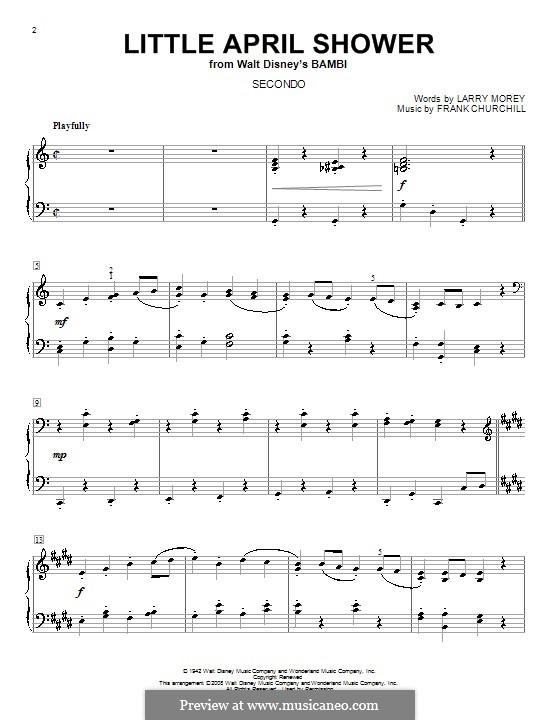 Little April Shower (from Bambi): Для фортепиано в 4 руки by Frank Churchill