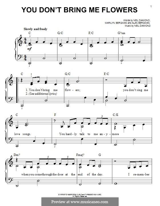 You Don't Bring Me Flowers: Для фортепиано (легкий уровень) by Neil Diamond