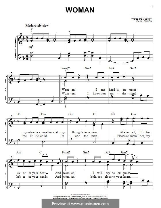 Woman: Для фортепиано (легкий уровень) by John Lennon