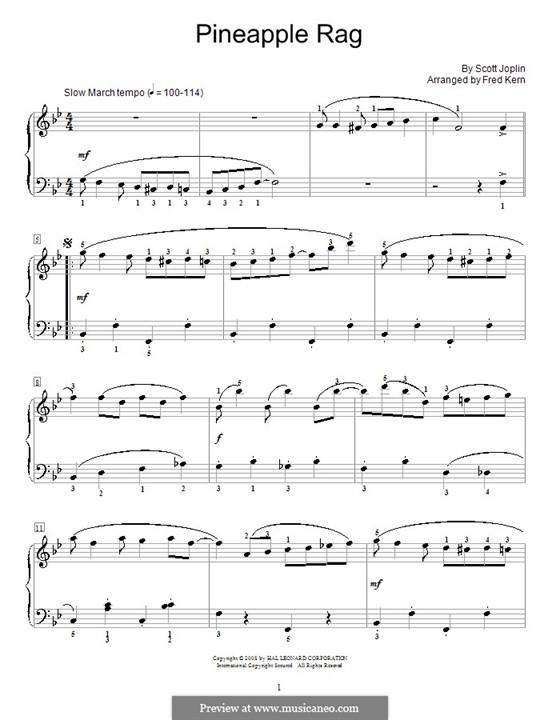Pineapple Rag: Для фортепиано (ноты высокого качества) by Скотт Джоплин