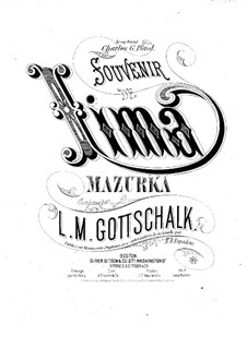 Souvenir de Lima. Mazurka, Op.74: Souvenir de Lima. Mazurka by Луи Моро Готшалк