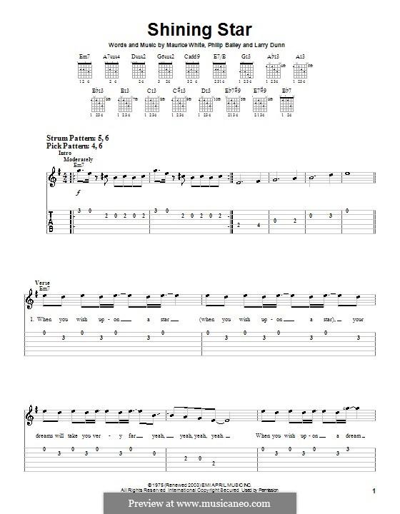 Shining Star (B Five): Для гитары (очень легкая версия) by Larry Dunn, Maurice White, Philip Bailey