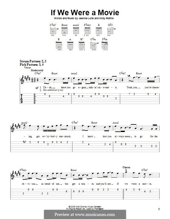 If We Were a Movie (Hannah Montana): Для гитары (очень легкая версия) by Holly Mathis, Jeannie Lurie