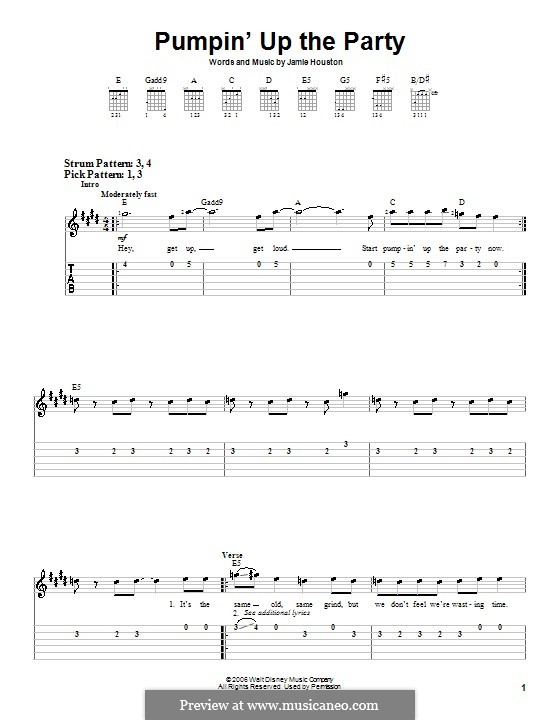 Pumpin' Up the Party (Hannah Montana): Для гитары (очень легкая версия) by Jamie Houston