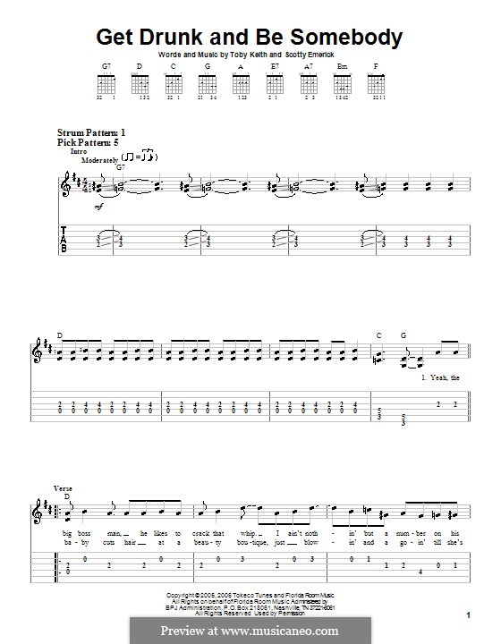 Get Drunk and Be Somebody: Для гитары (очень легкая версия) by Scott Emerick