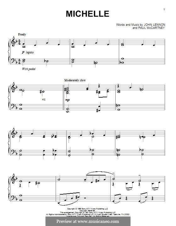 Michelle (The Beatles), for One Instrument: Для фортепиано (ноты высокого качества) by John Lennon, Paul McCartney