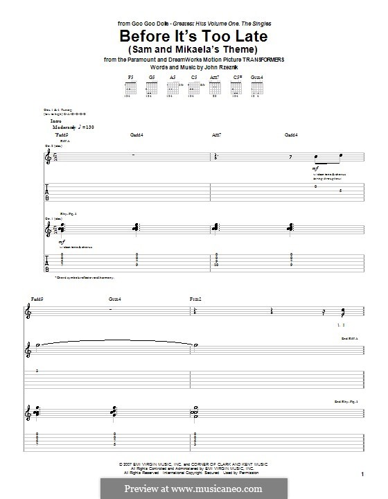 Before It's Too Late (Sam and Mikaela's Theme): Для гитары с табулатурой by John Rzeznik