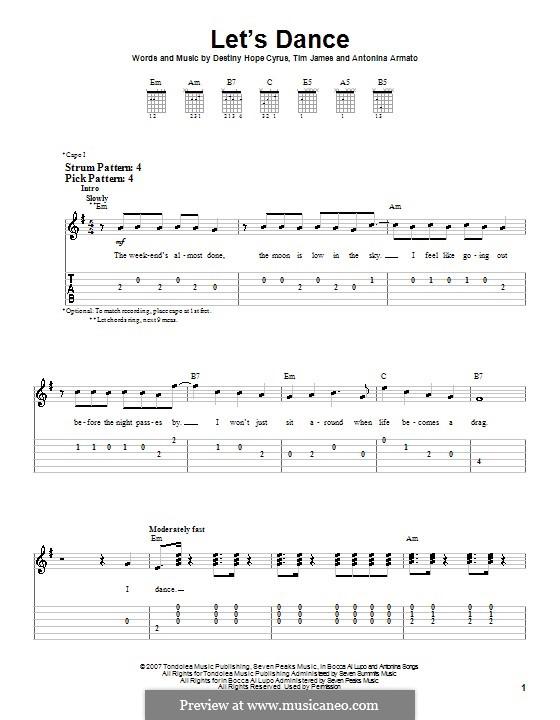 Let's Dance (Hannah Montana): Для гитары (очень легкая версия) by Antonina Armato, Destiny Hope Cyrus, Timothy James