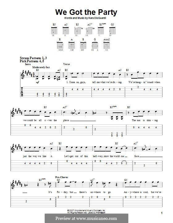 We Got the Party (Hannah Montana): Для гитары (очень легкая версия) by Kara DioGuardi