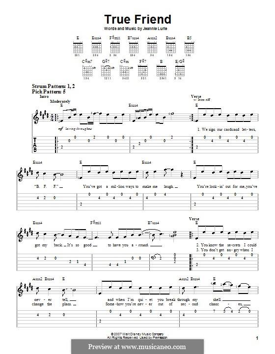 True Friend (Hannah Montana): Для гитары (очень легкая версия) by Jeannie Lurie