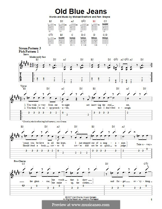Old Blue Jeans (Hannah Montana): Для гитары (очень легкая версия) by Michael Bradford, Pamela Sheyne