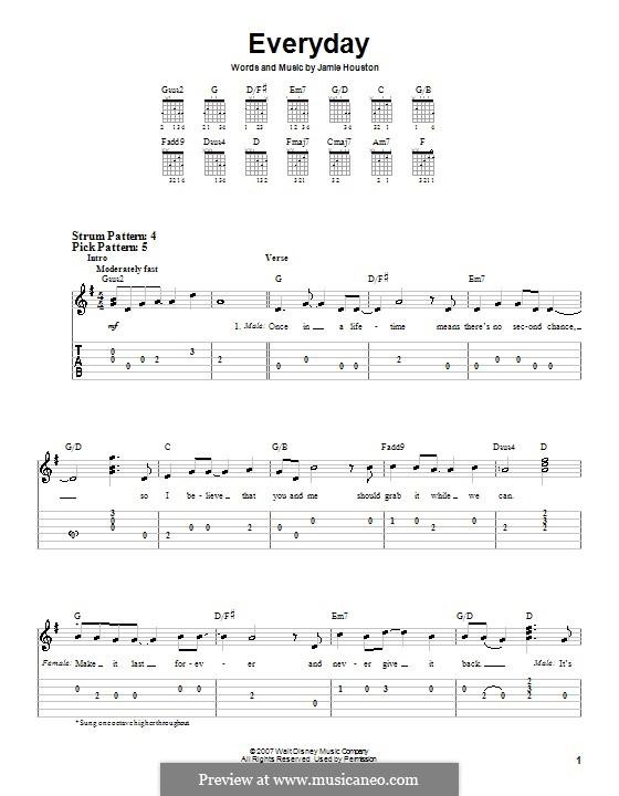 Everyday (High School Musical 2): Для гитары (очень легкая версия) by Jamie Houston