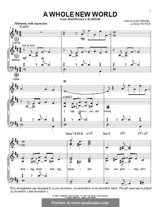 A Whole New World (from Aladdin): Для аккордеона by Alan Menken