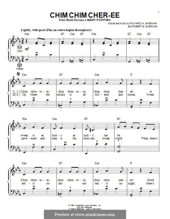 Chim Chim Cher-ee (from Mary Poppins): For accordion by Richard M. Sherman, Robert B. Sherman