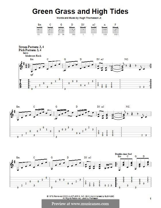 Green Grass and High Tides (Outlaws): Для гитары (очень легкая версия) by Hugh Thomasson Jr.