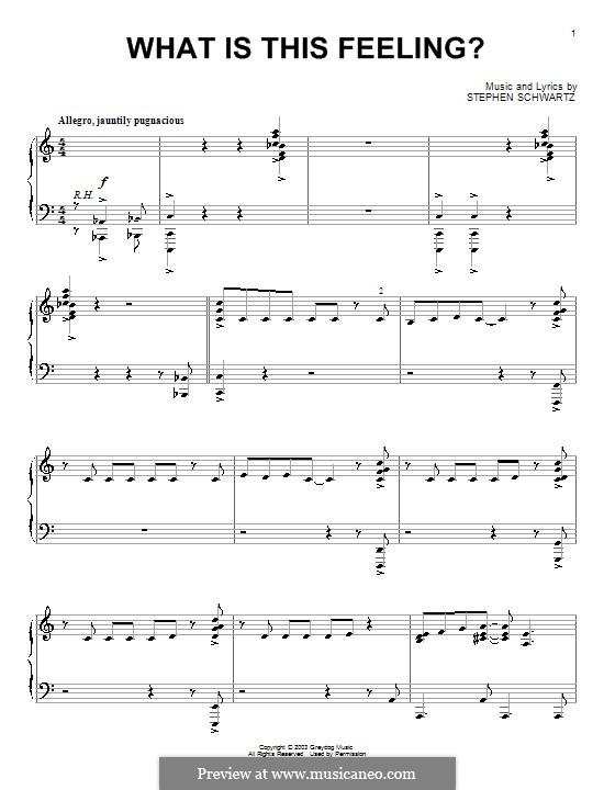 What Is This Feeling?: Для фортепиано by Stephen Schwartz