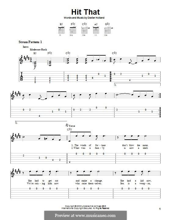 Hit That (The Offspring): Для гитары (очень легкая версия) by Dexter Holland