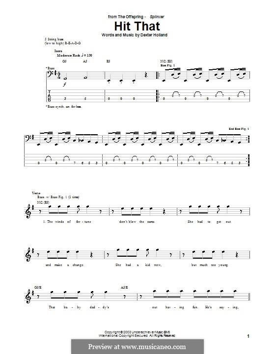 Hit That (The Offspring): Для бас-гитары с табулатурой by Dexter Holland