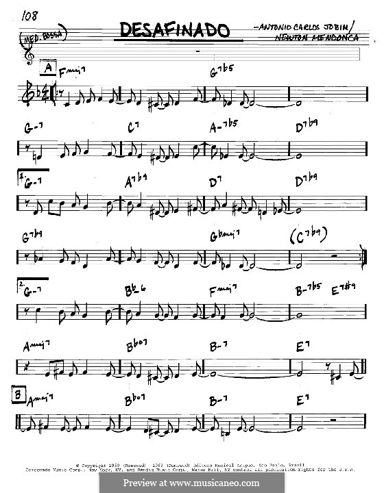 Desafinado (Slightly Out of Tune): Melody and chords – C instruments by Antonio Carlos Jobim