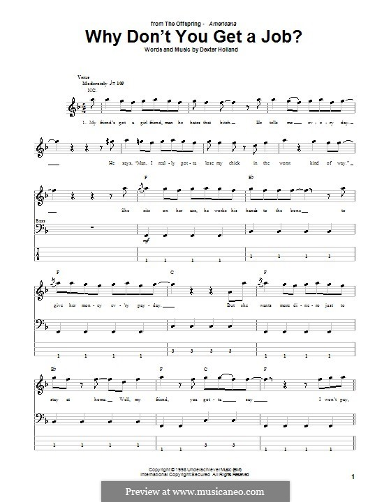 Why Don't You Get a Job? (The Offspring): Для бас-гитары с табулатурой by Dexter Holland