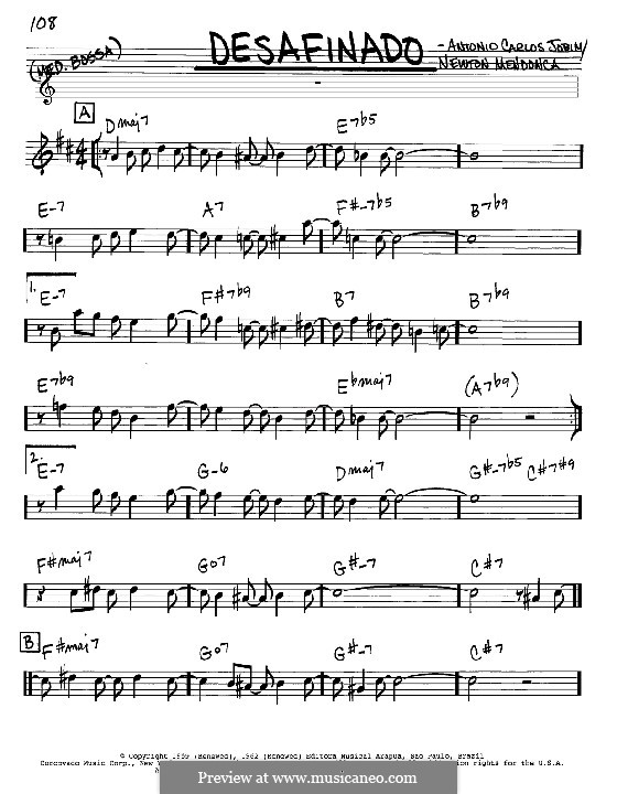 Desafinado (Slightly Out of Tune): Melody and chords – Eb instruments by Antonio Carlos Jobim