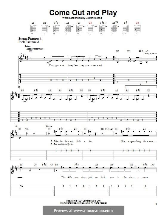 Come Out and Play (The Offspring): Для гитары (очень легкая версия) by Dexter Holland