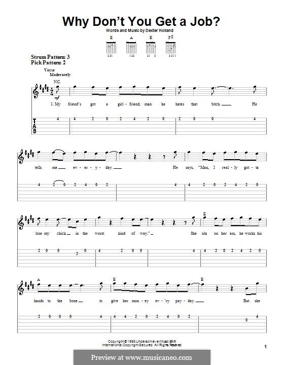 Why Don't You Get a Job? (The Offspring): Для гитары (очень легкая версия) by Dexter Holland