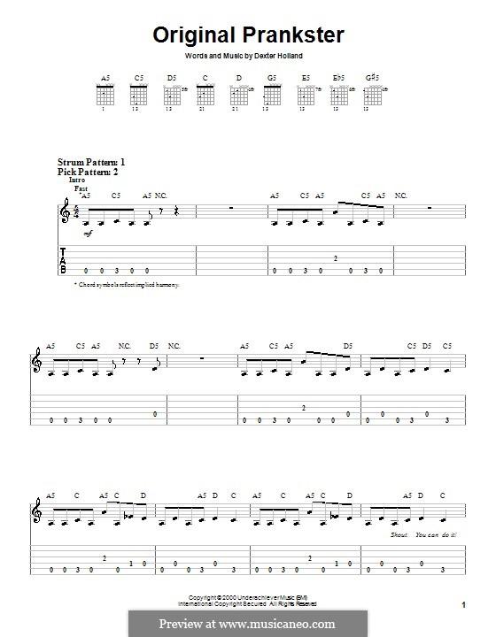 Original Prankster (The Offspring): Для гитары (очень легкая версия) by Dexter Holland