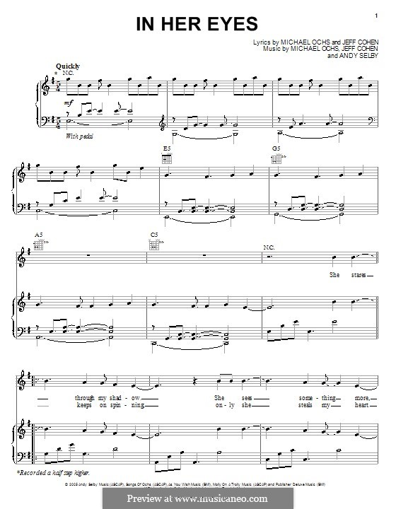 In Her Eyes (Josh Groban): Для голоса и фортепиано (или гитары) by Andy Selby, Jeff Cohen, Michael Ochs